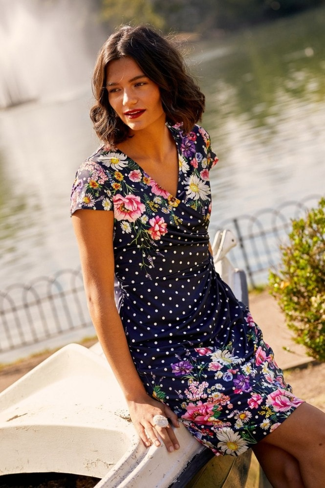 YUMI Daisy Bouquet Mirrored Wrap Dress