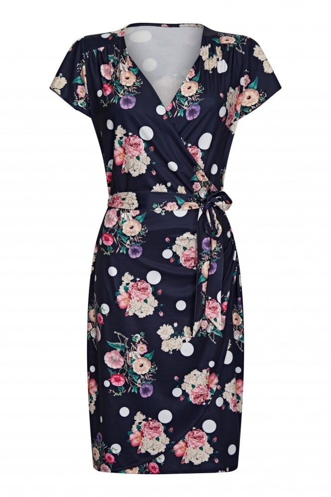YUMI Spot And Floral Wrap Dress