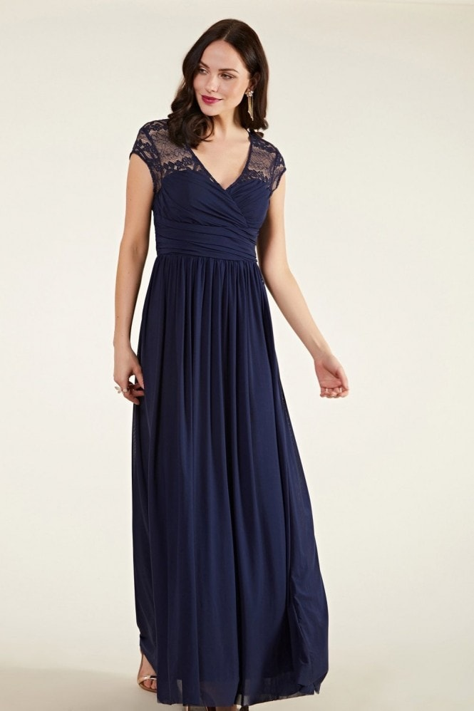 YUMI Ruched Wrap Mesh And Lace Maxi Dress