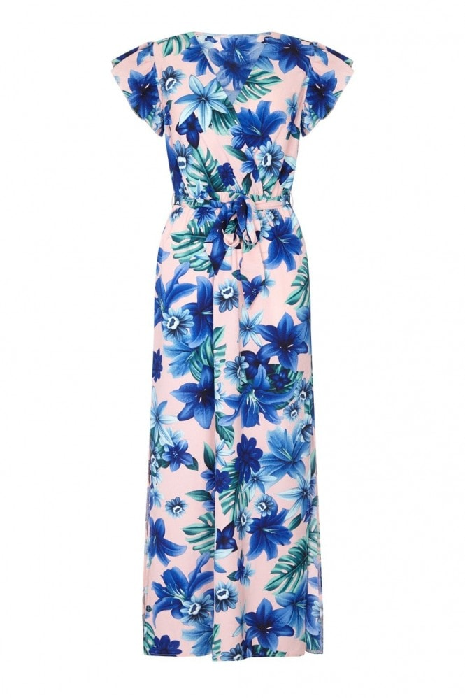 MELA Tropical Ruffle Sleeve Maxi Dress