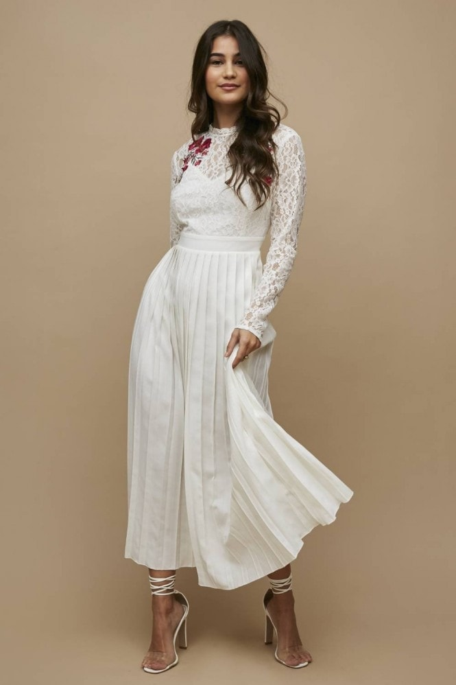 Little Mistress Casey White Embroidered Pleated Midaxi Dress