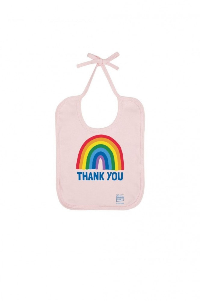 Little Mistress x Kindred Rainbow Thank You NHS Baby Powder Pink Bib