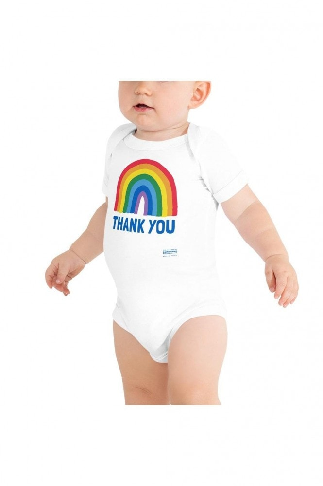 Little Mistress x Kindred Rainbow Thank You NHS Baby Rainbow White Baby Grow