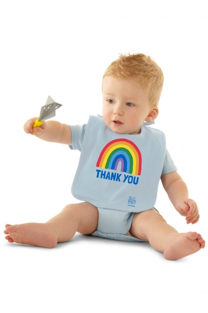 Little Mistress x Kindred Rainbow Thank You NHS Baby Soft Blue Bib