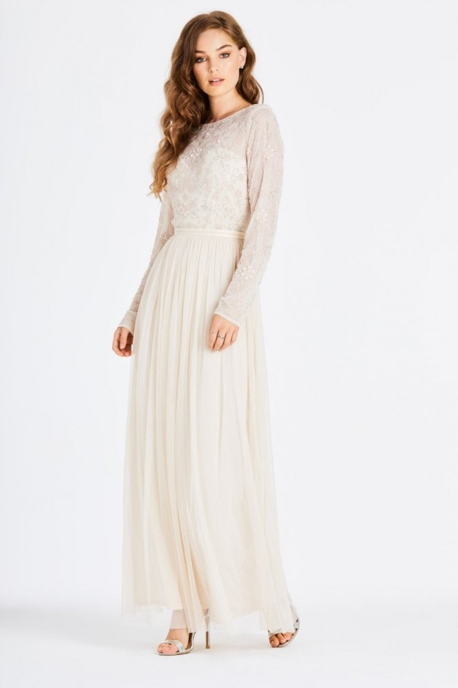 Little Mistress Danika Nude Hand-Embellished Maxi Dress
