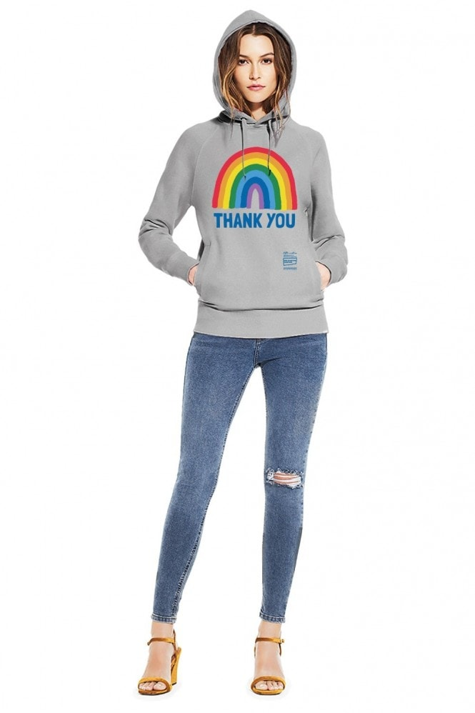 Little Mistress x Kindred Rainbow Thank You NHS Unisex Light Heather Rainbow Pullover Hoodie With Side Pockets