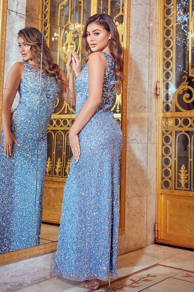 Sistaglam Luxe All Over Sequin Blakely Blue Gown Dress