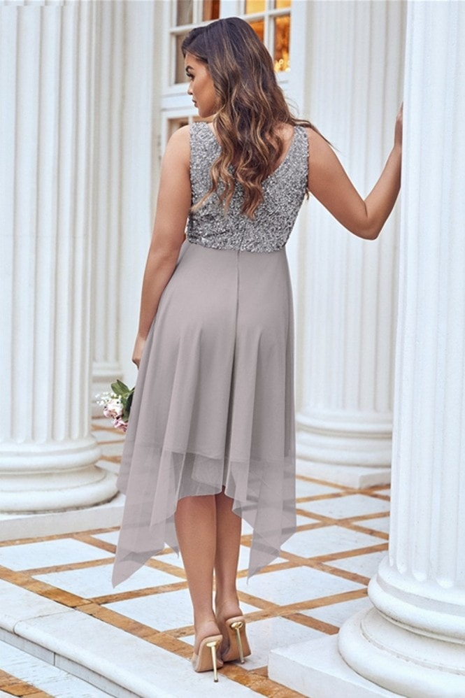 Sistaglam MELLI SEQUIN TOP MIDI GREY DRESS