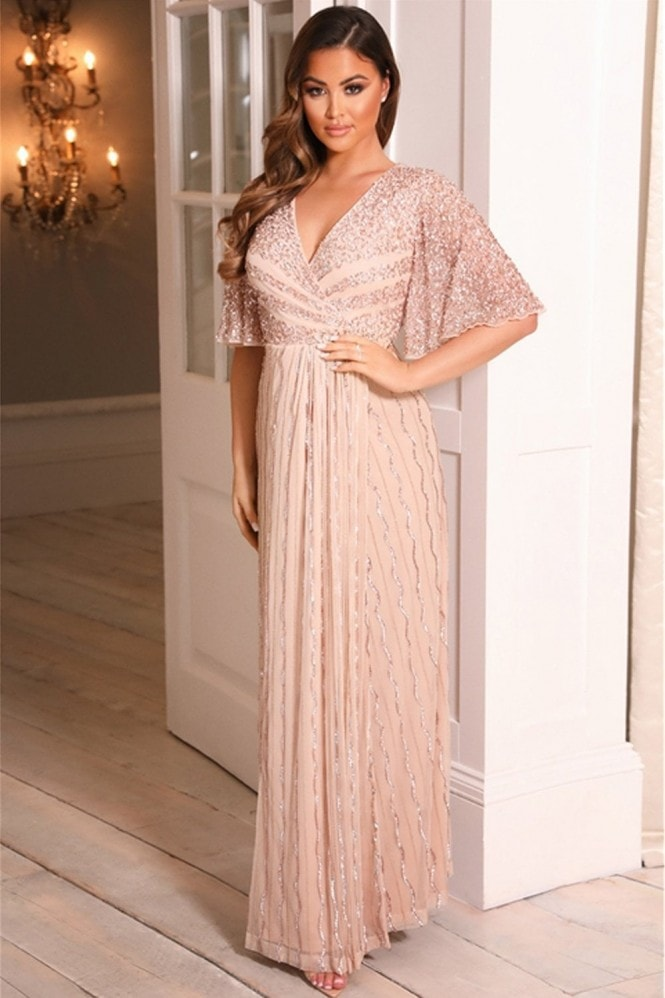 Sistaglam SHERIE ROSE GOLD batwing sleeve beaded maxi DRESS 8