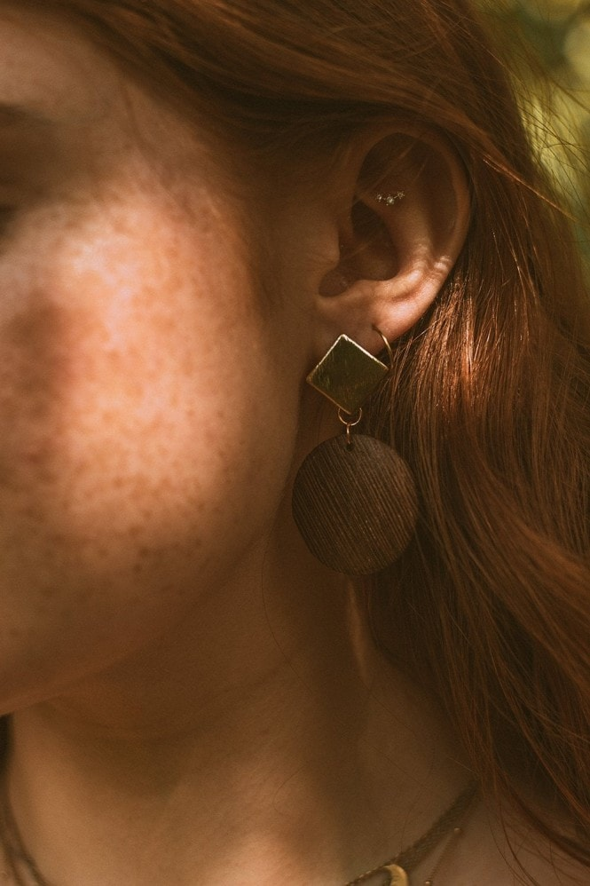 Xander Kostroma Gold Tone Wooden Disc Earrings