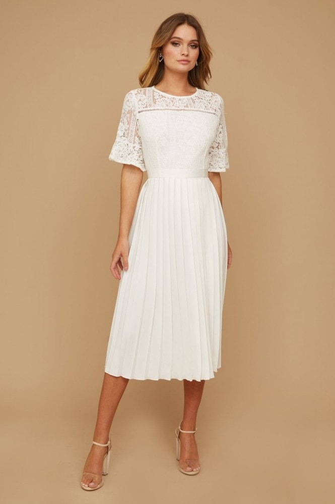 Little Mistress White Pleated Maxi Dress