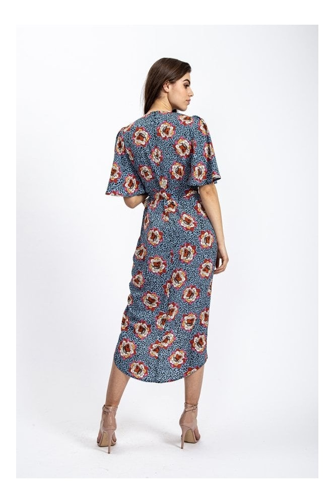 Divine Grace Short Sleeve Midi Wrap Dress in Floral & Leopard print