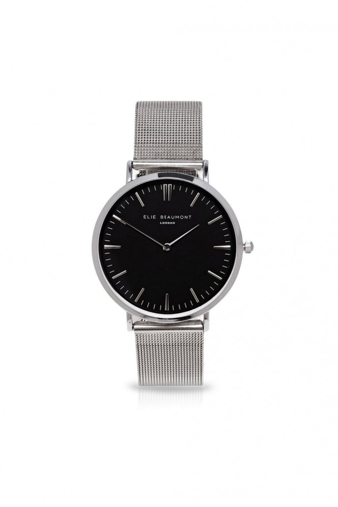 Elie Beaumont Oxford Large Mesh Silver/Black Watch