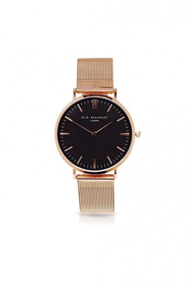 Elie Beaumont Oxford Large Mesh Rose Gold/Black Watch