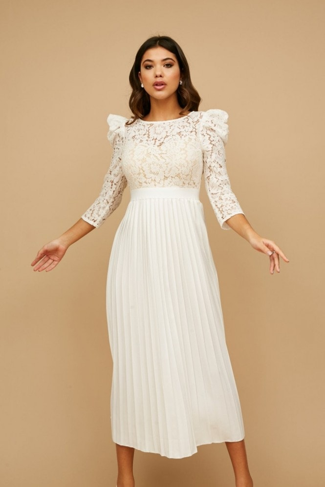 Arya White Lace Pleated Midaxi Dress