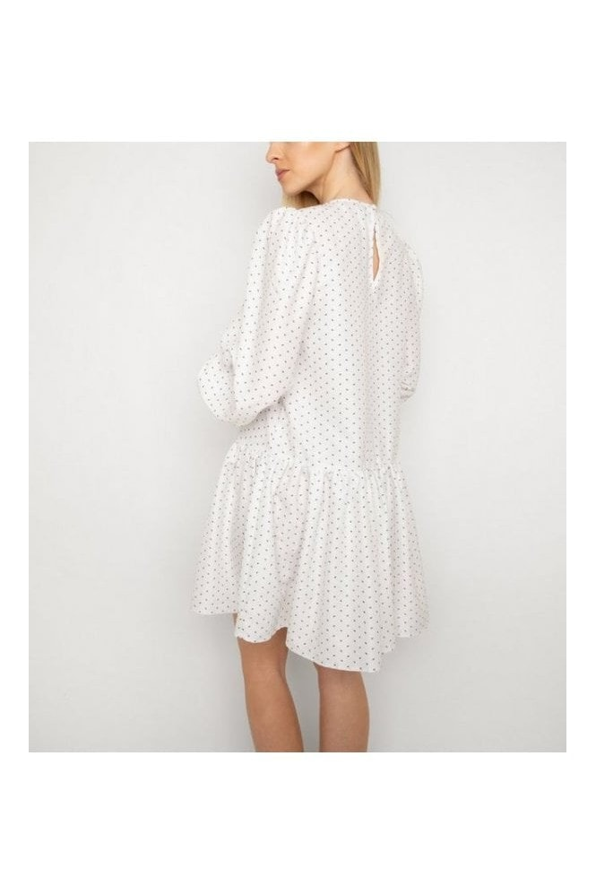 Gini London White Spot Puff Sleeve Dress