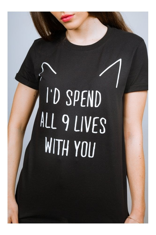 Adolescent Clothing ALL 9 LIVES BLACK SLOGAN TEE