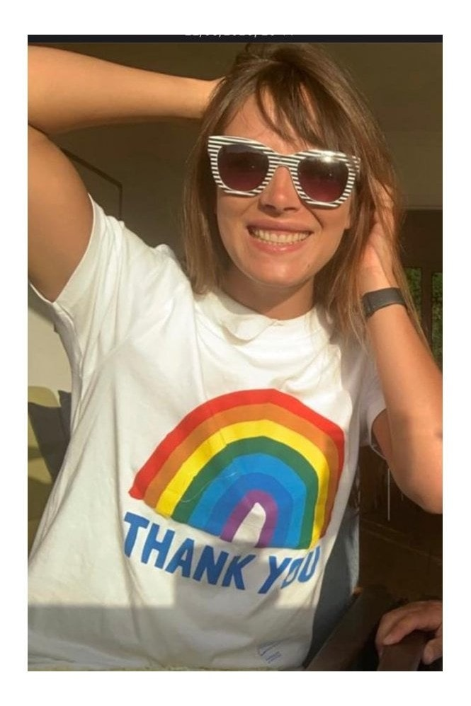 Little Mistress x Kindred Rainbow Thank You NHS Unisex White Rainbow Classic Jersey T-shirt