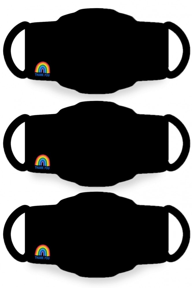 Little Mistress x Kindred Rainbow Thank You NHS Black Face Mask 2-Layer / Soft Touch For Kids -Pack of 50