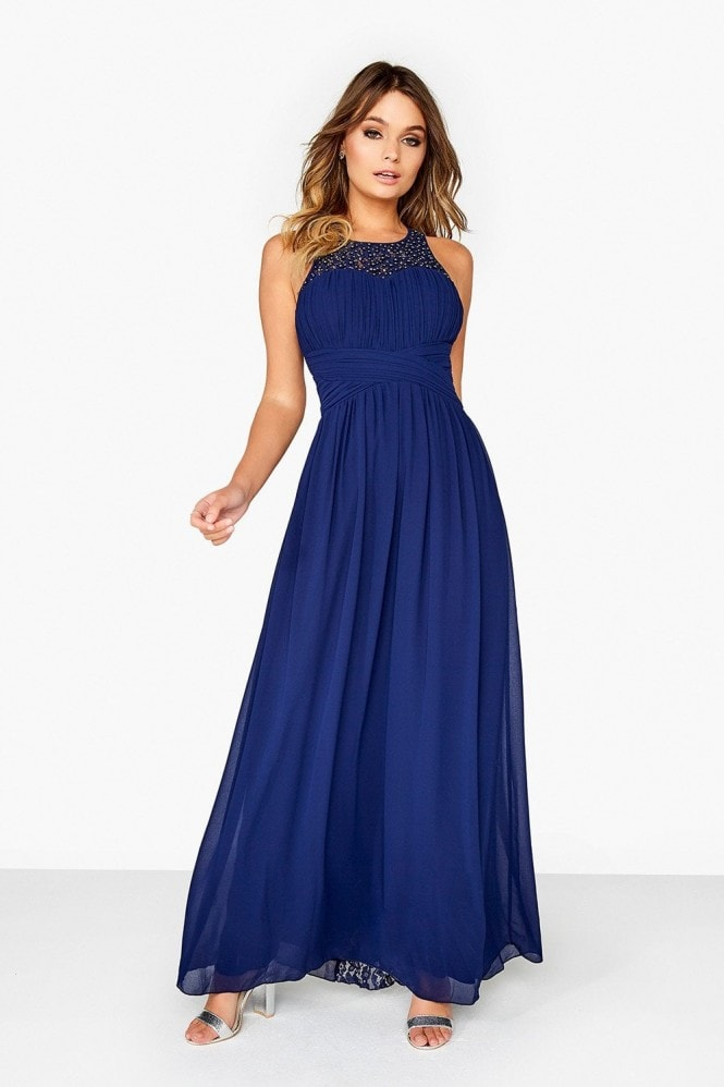 Little Mistress Navy Lace Back Maxi Dress 1