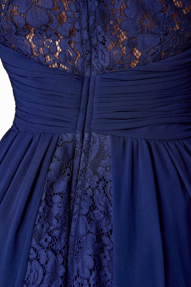 Little Mistress Navy Lace Back Maxi Dress