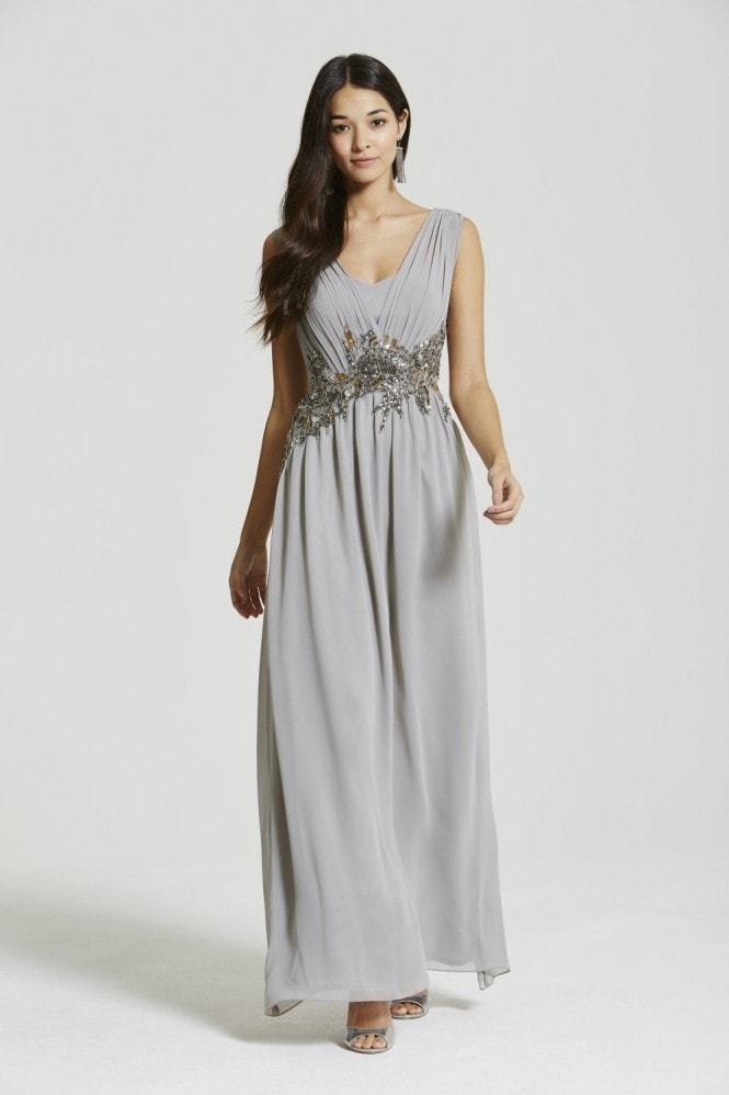 Little Mistress Grey Chiffon Decorative Waist Maxi Dress