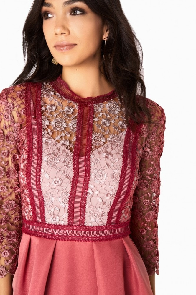 Little Mistress Megan Mixed Crochet Panel Skater Dress