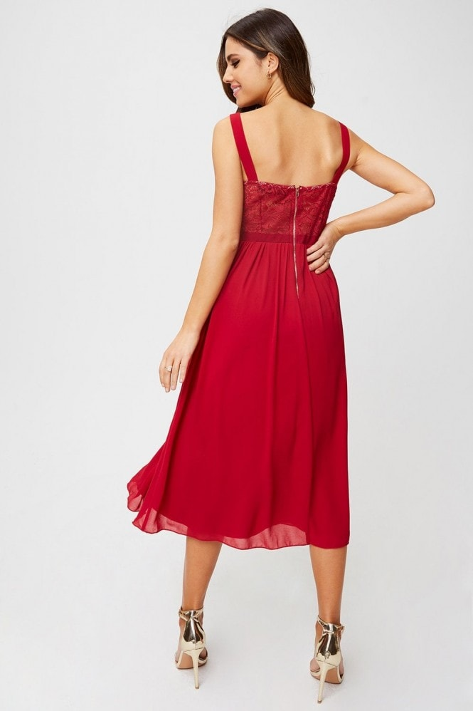 Little Mistress Blaire Scarlet Lace-Trim Fit And Flare Midi Dress