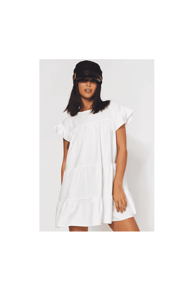 The Fashion Bible Luca Petite White Frill Smock Dress 14