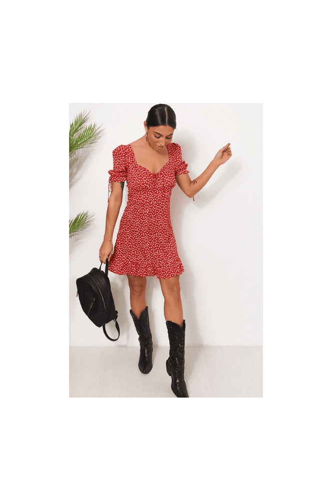 The Fashion Bible Callie Red Puff Sleeve Shift Dress