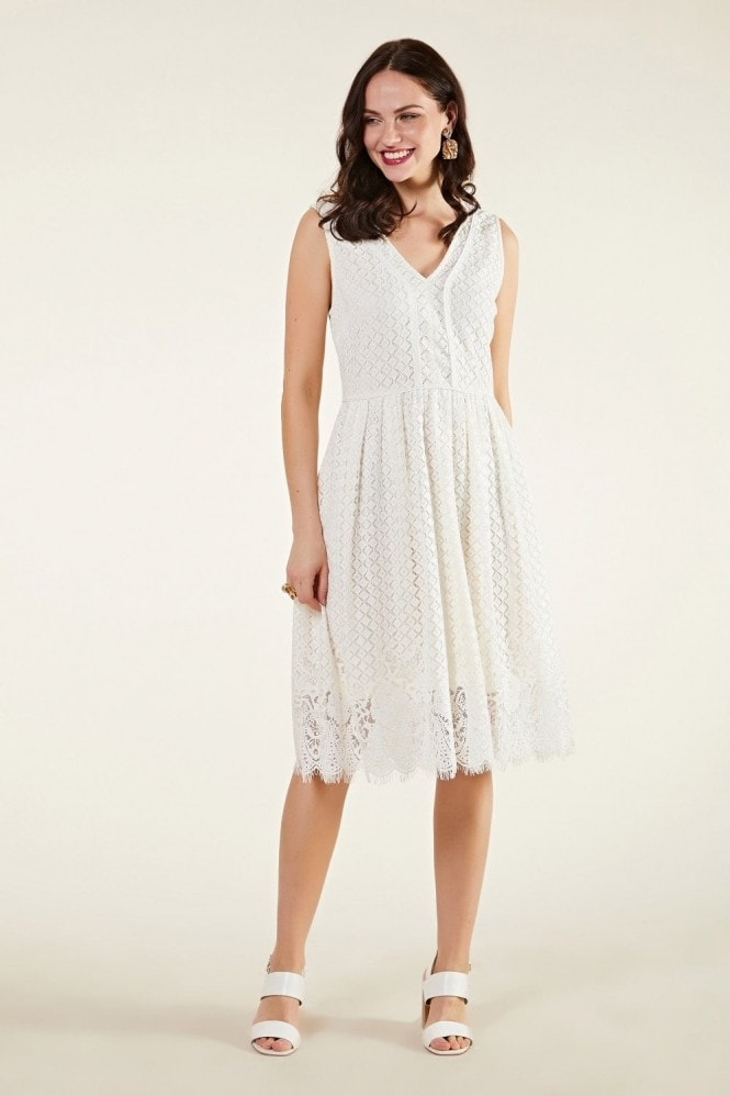 YUMI Lace Trim Skater Dress