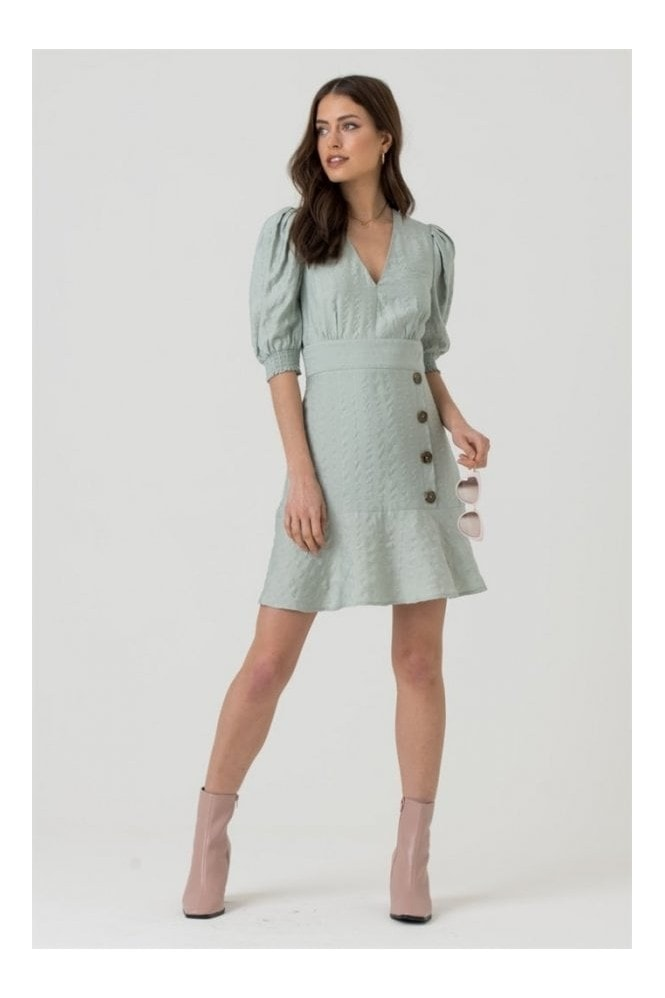 LIENA V-neck Button Skirt Mini Dress in Mint Green 10