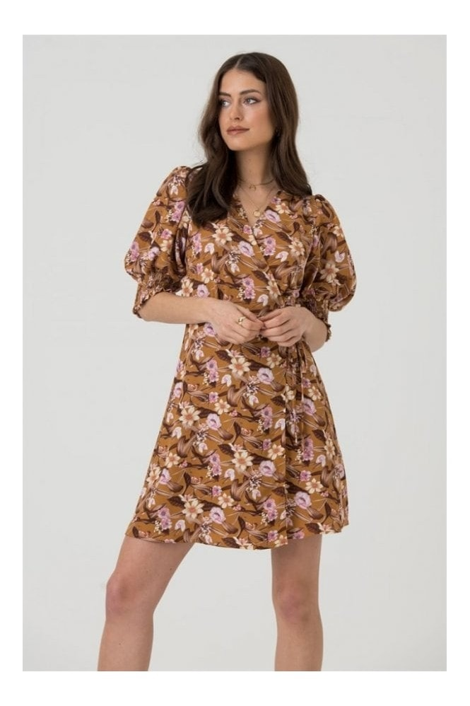 LIENA Cropped Sleeve Wrap Mini Dress in Mustard Floral 6