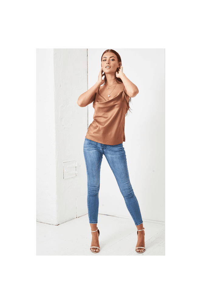 Love Frontrow Cowl Neck Satin Cami Top | Gold