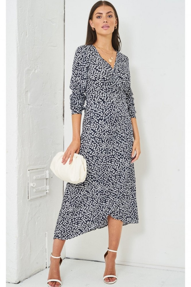 Love Frontrow Ditsy Floral Print Midi Wrap Dress | Navy 5