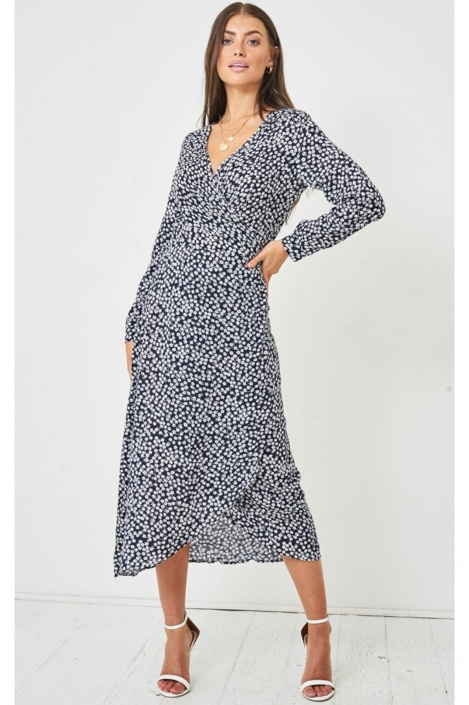Love Frontrow Ditsy Floral Print Midi Wrap Dress | Navy