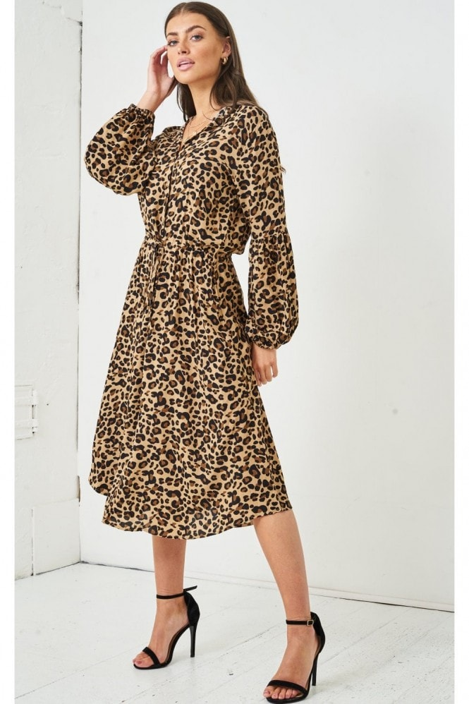 Love Frontrow Leopard Print Long Sleeve Midi Dress | Brown