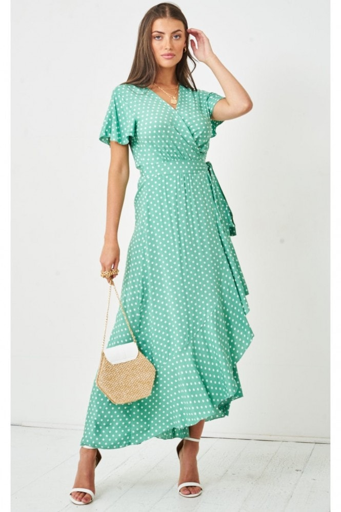 Love Frontrow Polka Dot Short Sleeve Maxi Wrap Dress | Green 10