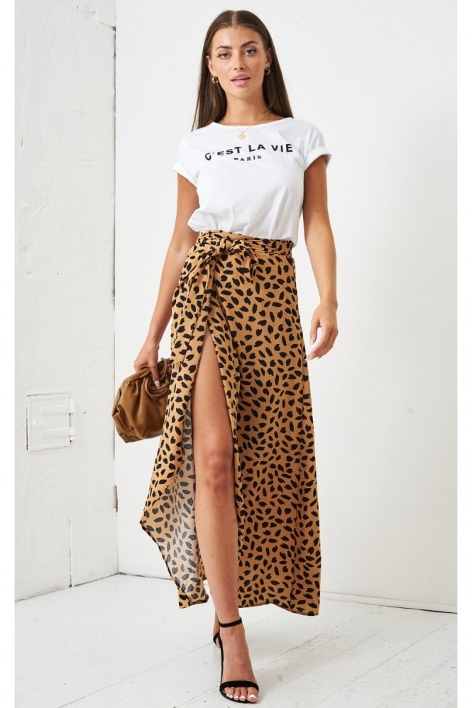 Love Frontrow Leopard Print Maxi Wrap Skirt | Brown
