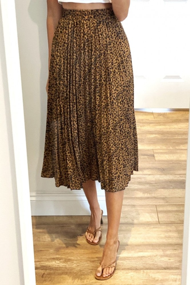 Gini London Yellow Pleated Leopard Print Midi Skirt