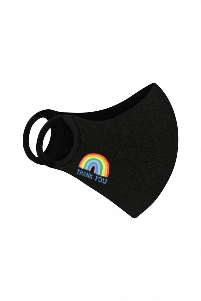 Little Mistress x Kindred Rainbow Thank You NHS Black Personal Protection Face Mask 2- Layer with Antibacterial Fabric Protection / Soft Touch For Adults - Pack of 20