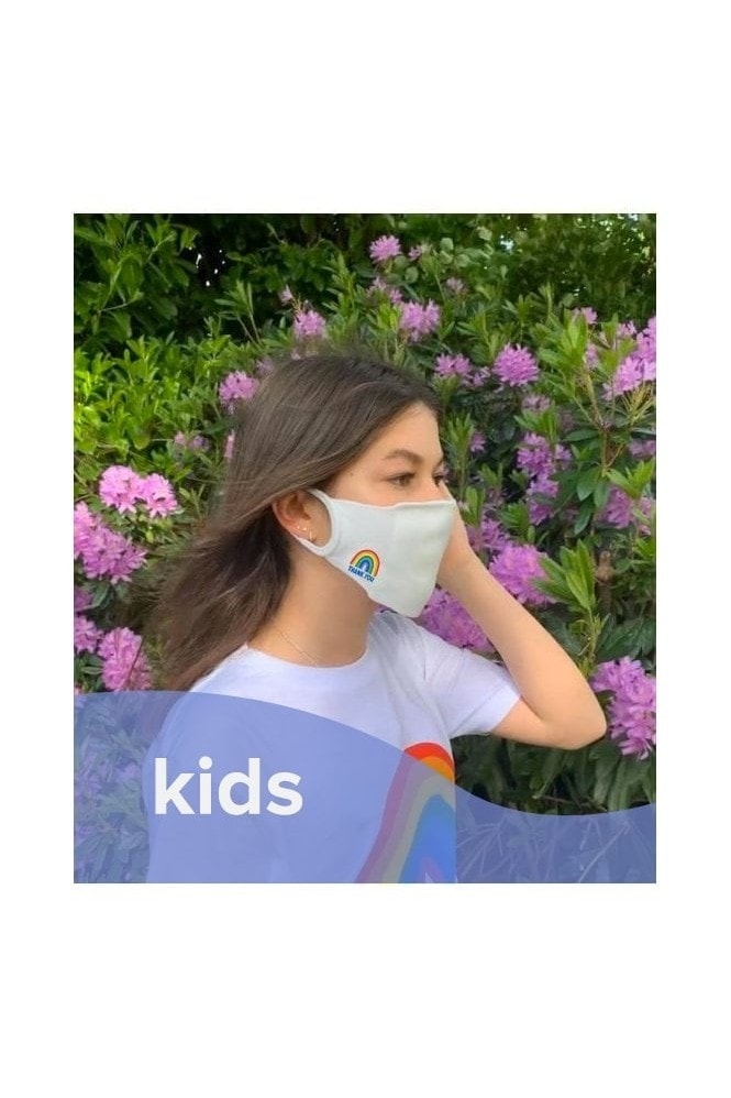 Little Mistress x Kindred Rainbow Thank You NHS White Personal Antibacterial Fabric Protection Face Mask / Soft Touch For Kids - Pack of 3