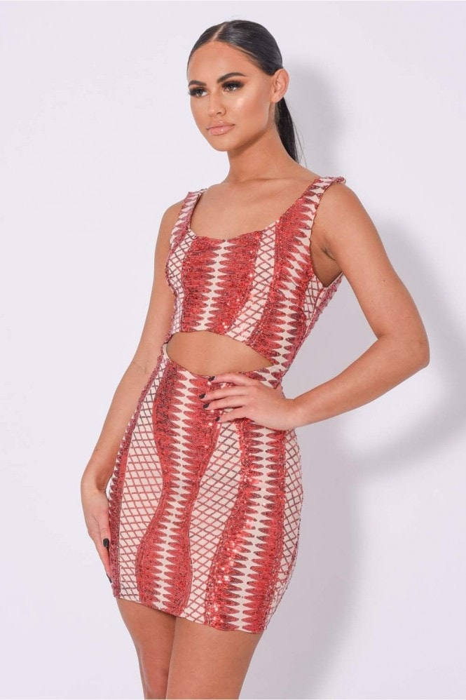 NAZZ COLLECTION TILL MIDNIGHT RED CUT OUT SEQUIN BANDAGE BODYCON DRESS