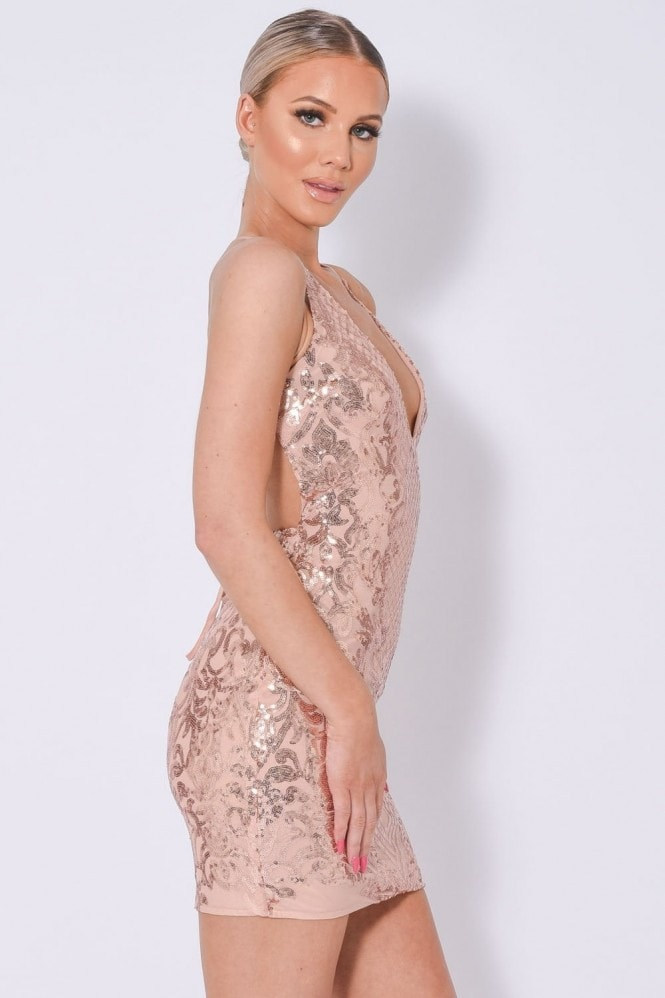 NAZZ COLLECTION ICEY VIP ROSE GOLD PLUNGE FLORAL SEQUIN ILLUSION MINI DRESS