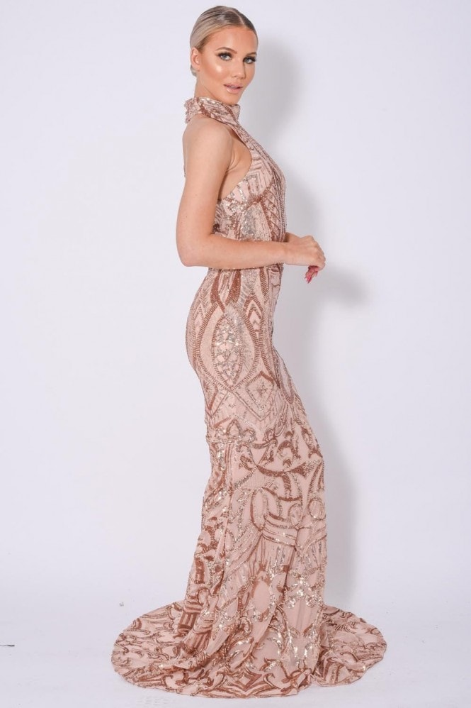 NAZZ COLLECTION ENVY ROSE GOLD LUXE MAXI FISHTAIL SEQUIN EMBELLISHED DRESS