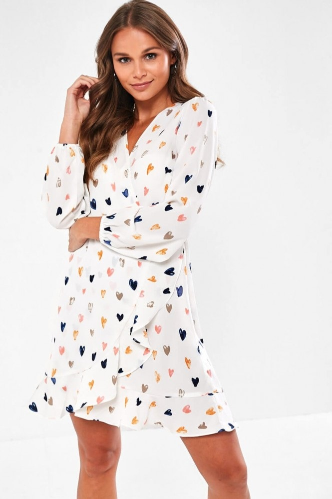 iClothing Brooklyn Heart Print Frill Wrap Dress in White 11