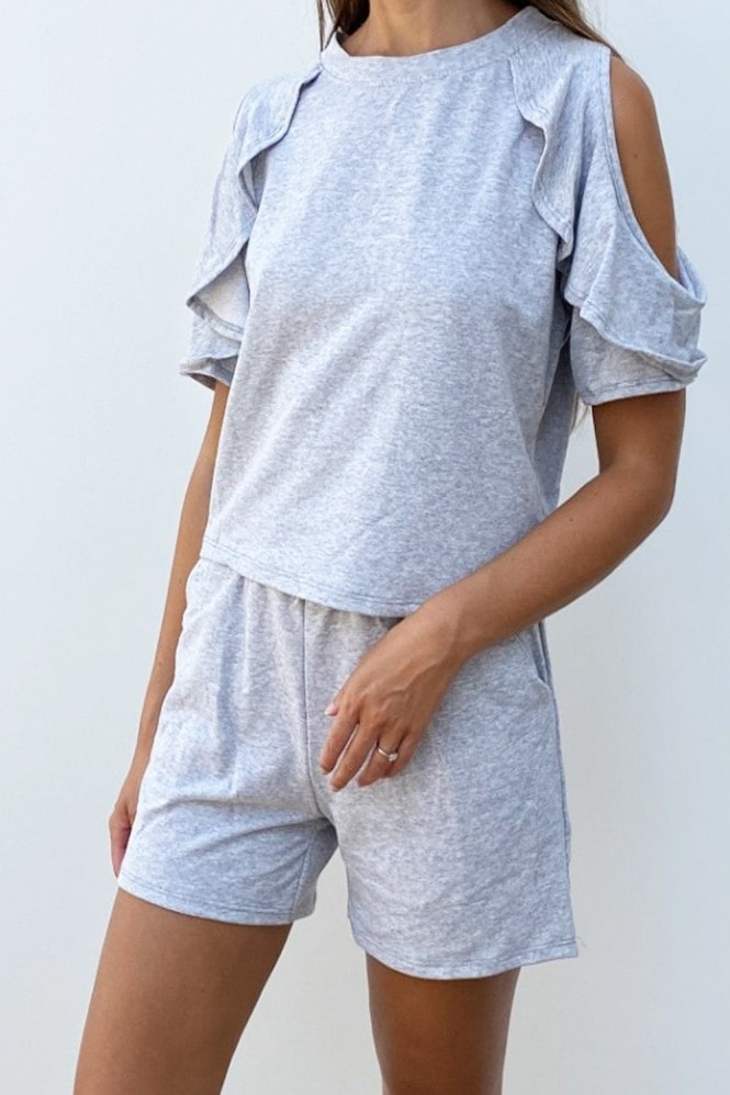 Cold Shoulder Frill Loungewear Co-ord In Grey