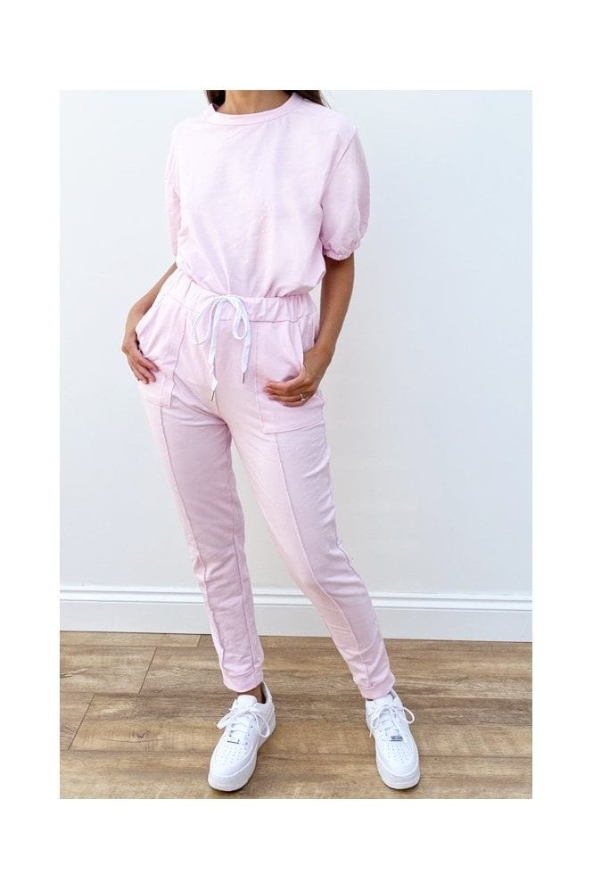 Oversized loungewear Puff Sleeve Co-ord Set In Pink
