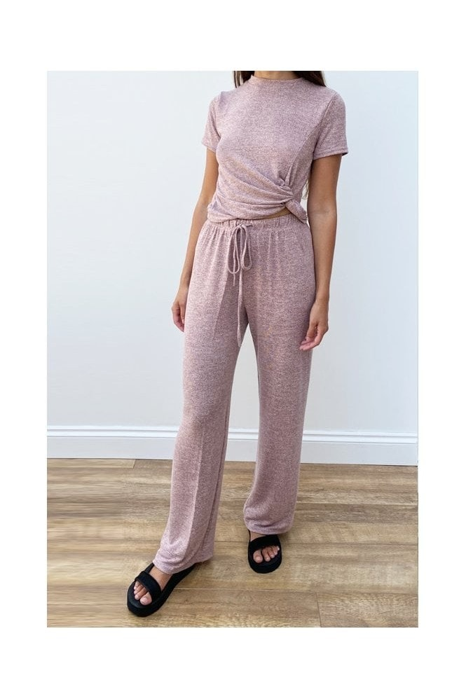 Loungewear Set With Twisted Front In Pink