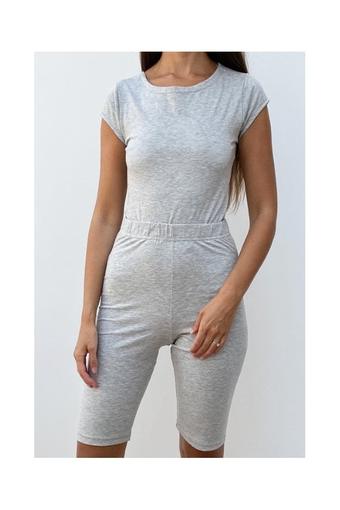 Outrageous Fortune Loungewear Bodycon Short In Grey